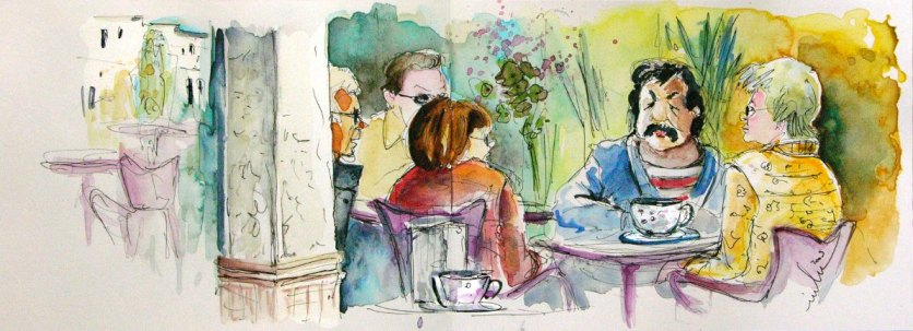 (ink & watercolour on paper, Café Masko, Mojacar Playa, 15/01/2009)