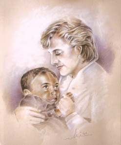 Princess Diana, by Miki - Brown Pencil and White Pastel, 60 x 50 cm, 2009