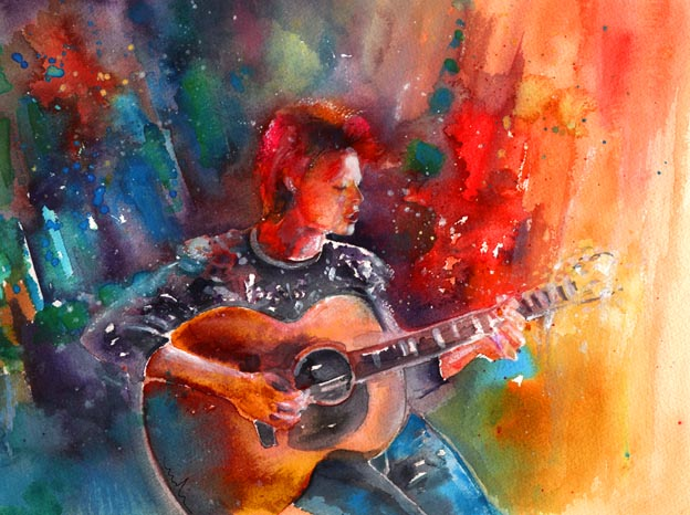 David Bowie in Space Oddity – aquarelle by Miki